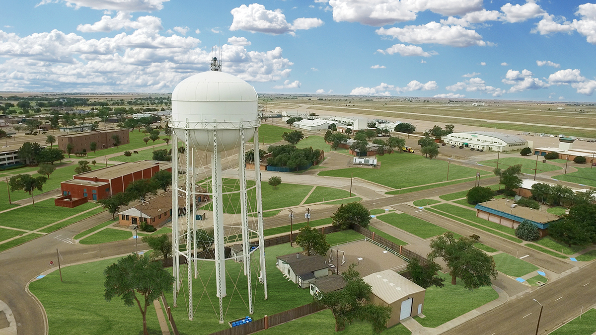 aerial view of Lubbock with water tower